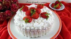 La Torta fragole e panna è un dolce delicato e goloso che piace a tutti E' farcito con una crema semplice e senza cottura, veloce da fare.