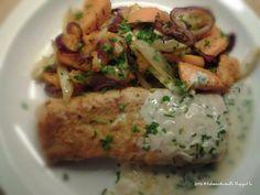 Mireille's pure keuken.: Ovenschotel van geroosterde venkel en pompoen met gebakken schelvishaasje en witte wijnsaus.
