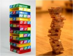scripture chase jenga: winning team pulls 2 or 3; losers pull other -- each block stacked on top = 1 pt./team. Team to tumble tower loses 5 pts.