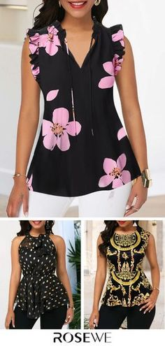 Upgrade your wardrobe and try new styles this year. Flower Print Ruffle Trim V Neck Tank Blouse Prom Dresses With Sleeves, Modest Dresses, Cute Blouses, Blouses For Women, Fashion Pants, Fashion Outfits, Womens Fashion, Dinner Wear, Fancy Tops