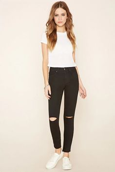 A pair of mid-rise skinny jeans featuring ripped accents at the knees, front welt pockets, two back patch pockets, and a zip fly.#f21denim