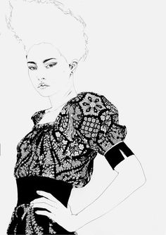 Black and white fashion illustration; fashion drawing // Christina K