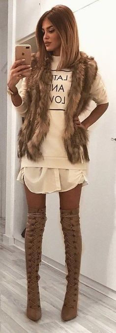 #winter #fashion /  Faux Fur Vest / Printed Knit / Maxi Shirt / Laced Up OTK Boots