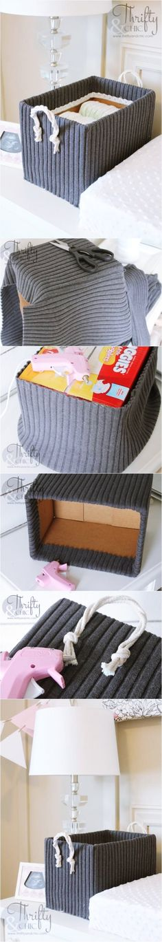 Cute Storage Boxes from Old Boxes and Sweaters. With our wide selection of box sizes this easy DIY is a great option with unlimited potential! DIYs with packing supplies! Cute Storage Boxes, Diy Storage, Storage Bins, Storage Containers, Diy Crafts To Sell, Home Crafts, Ideias Diy, Old Boxes, Craft Club