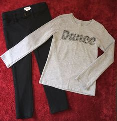 FADED GLORY S//S GREEN TEA Knit Top w//Sequins /& Leggings Set GIRLSIZES NWT