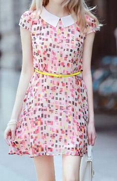 Peter Pan Collar Geometric Pattern Dress