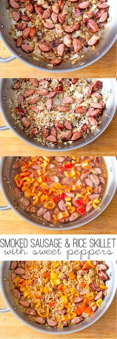 Smoked Sausage and Rice Skillet with Sweet Peppers. Very easy. Worth doing again b/c of simplicity, but need to modify. HM