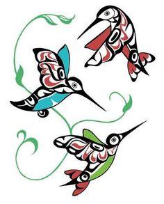 Hummingbirds by Odin Lonning / Hummingbird tattoo art idea Inuit Kunst, Arte Inuit, Inuit Art, Native American Design, American Indian Art, Native Design, Arte Tribal, Tribal Art, Art Haïda