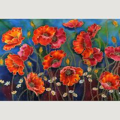 painting on silk - flowers  by SilkByLena