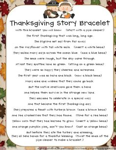 The Story of Thanksgiving Bracelet As we get closer to turkey time, we've been busy reading books about The First Thanksgiving, sharing what we are thankful for, and discussi… Thanksgiving Stories, Thanksgiving Preschool, Thanksgiving Parties, The First Thanksgiving Story, Holiday Parties, Thanksgiving Favors, November Thanksgiving, Thanksgiving Messages, Manualidades