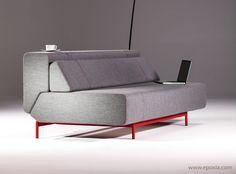 Canapé convertible Pil-low gris pieds rouges