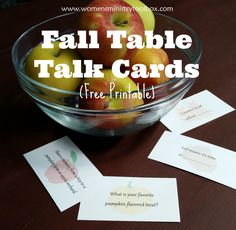 Fall Table Talk Cards (Free Printable) - Break the ice with these fall-themed questions on www.womensministrytoolbox.com.