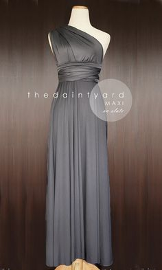 99699e9c576 TDY Slate Maxi Bridesmaid Dress Convertible Dress Infinity Dress Multiway  Dress Prom Dress Wedding Cocktail Long Gown (Regular   Plus Size)