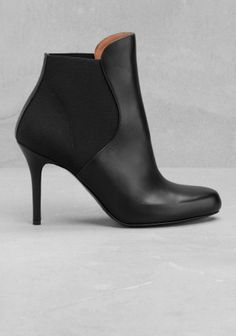& OTHER STORIES Ultra-chic and classy, these leather ankle boots feature a thin stiletto heel and an elastic upper for a comfy pull-up fit.