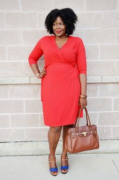 Plus size outfit inspiration:  Red wrap dress