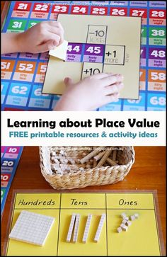 Learning about Place Value - FREE printable place value resources and hands-on activity ideas for learning about two and three digit place value Math Place Value, Place Values, Kindergarten Math, Teaching Math, Math Math, Math Classroom, Math Games, Preschool Activities, 2nd Grade Math