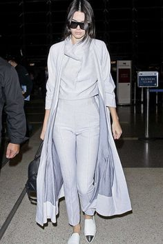Kendall Jenner in a monochromatic grey look