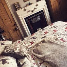 Winter bedding , Cosy master bedroom , Victorian terrace, wall colour dulux perfectly taupe