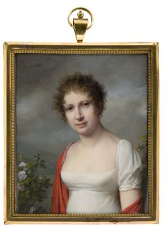 Frédéric Dubois Lady in White Dress with Red Scarf circa 1810