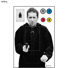 """The CPD-IL target was designed for use by the Carbondale, IL PD. Silhouette target features shaded vital anatomy, a 3"""" x 5"""" vital head rectangle and a 8.5"""" X 14"""" center mass scoring box. Target also has rifle sighting grid target"""