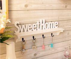 "1pcs wood Vogue ""Sweet Home"" Shelves Wall hanger Rack Wooden wall coat rack home Decors Coat Hat Key Holder Hooks home supplies"