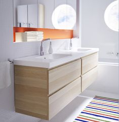 IKEA Godmorgon wall-mounted vanity with Braviken double sinks