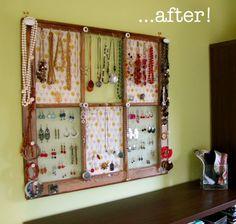 window frame jewelry display diy