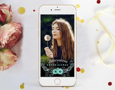 QUINCEANERA Snapchat Geofilter, Teal Flowers Filter, Floral Quinceanera Snap chat Filter, 15th 16th Birthday Geofilter Welcome Poster, Teal Flowers, Quinceanera Invitations, 16th Birthday, Cupcake Toppers, Thank You Cards, Snapchat, Filter, Floral