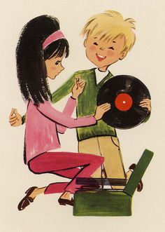 〆(⸅᷇˾ͨ⸅᷆ ˡ᷅ͮ˒)                                                             1960s Card - Kids With Record by Benjamin D. Hammond