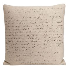 I pinned this Script Pillow from the French Farmhouse event at Joss and Main!
