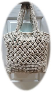 This unique tote bag is crocheted flat and seamed together.