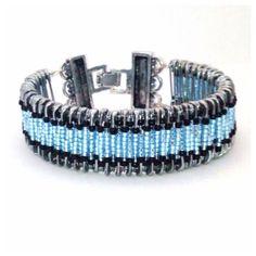 Safety Pin Bracelet cuff bracelet glass beaded by AuntieDooDahs, $18.00