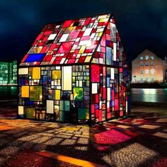 Glow Home: Stained Glass Art House: New York Artist Tom Fruin Put This  Piece On Display Alongside The Water On A Plaza In Copenhagen, ...