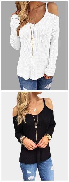 Black Cold Shoulder Long Sleeves T-shirts
