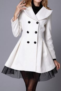 Lace Hem   Double Breasted Coat.