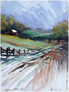 Pastoral Scene - Ohio Thomas W Schaller - Watercolor Watercolor Artists, Watercolor Techniques, Watercolor Landscape, Watercolour Painting, Landscape Art, Landscape Paintings, Watercolours, Shadow Painting, Painting Art