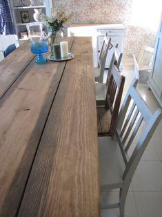 Ruokapöytä lankuista, Otso. Kitchen Dining, Dining Room, Dining Table, Outdoor Furniture, Outdoor Decor, Beach House, Rustic, Sweet, Home Decor