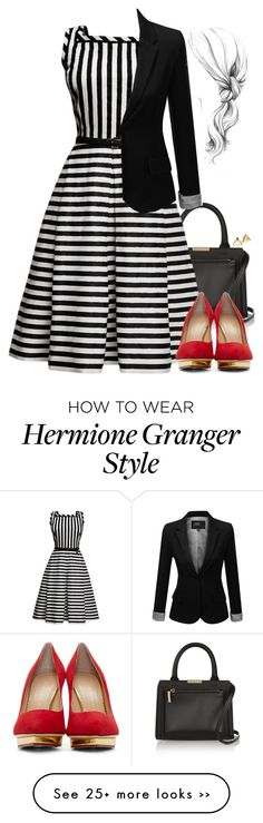 """""""Hermione Granger Inspired Outfit w/ a Tea-Length Dress"""" by hpstyle on Polyvore"""
