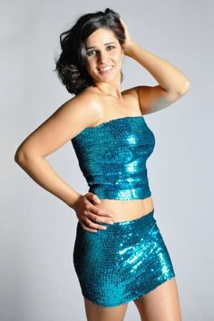 Pearl Women's Exotic Sexy Sparkly Sequin Tube Top or Skirt - TURQUOISE: