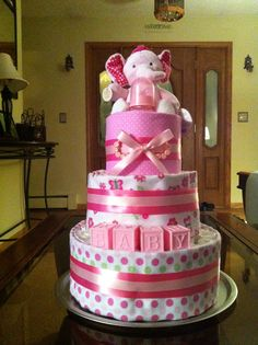 Diaper cake for brooklyn.                                  Wish I could make such a beatiful cake for my dear little grandchild Esja, who is celebraiting her 2 years birthsday to day.