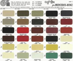 Mercedes-Benz Ponton Paint Codes / Color Charts © www. Paint Color Codes, Car Paint Colors, Paint Code, Car Colors, Mercedes Benz, Mercedes G Wagon, Customize Your Car, Classic Mercedes, Car Painting
