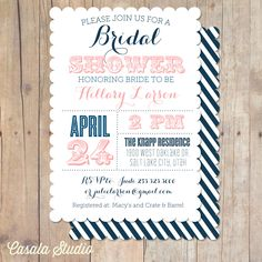 Vintage Nautical Scalloped Bridal Shower Invitation Printable Invite OR Printed Card. $16.00, via Etsy.