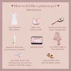 hello lovelies ♡ here is part two to 'how to feel like a princess'! I'm definitely going to make this a series along with my 'how to feel… Classy Aesthetic, Angel Aesthetic, Aesthetic Fashion, Aesthetic Clothes, Princess Aesthetic, Modern Princess, Princess Style, Etiquette And Manners, Pink Cheeks