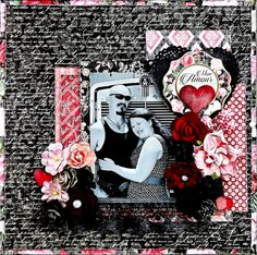 Scraps of Darkness scrapbook kits: Laura Gilhuly created this striking red and black Love / Valentine's Day layout using the Graphic 45 Mon Amour Collection from our Jan. 'Beloved' Kit. Subscribe to our kits today and receive a new box of mixed media scrapbooking fun delivered to you each month. www.scrapsofdarkness.com