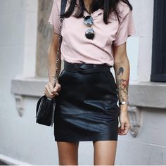 Leather and blush | via Pepamack