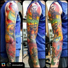 Heavy metal inspired sleeve by Artist @donmeatball @royalfleshtattoo #chicago #chitown #chicagotattoo #chicagotattooshop #chicagotattooartist #royalflesh #royalfleshtattoo #royalfleshtattooshop #maydaytattoosupply #tomahawkcartridges #albroordie #fkirons #fkironsdirekt2 #dermaglo #dermagloink #metallica #ironmaiden #eddie #jumpinthefire #dio #ronniejamesdio #Angelo