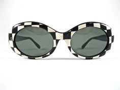 96b7ccc9e64 Vintage checker sunglasses. black and white oval frames. Mod pop 1960s  style Made in France