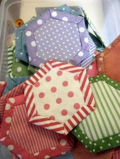 Quilt as You Go Hexies...could also do this with completed squates and join with decorative stitches for a crazy quilt.