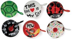 Hand-painted bike bells.  I like the speedometer one - Go Go Speed Racer (on a teal beach cruiser)!