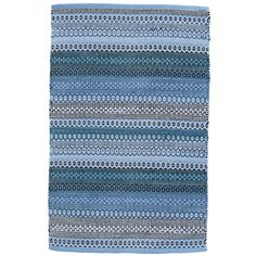 Embrace the blues with this boho woven cotton area rug. In shades of denim, navy, teal, and Swedish blue, this rug can travel freely from floor to floor throughout the home.